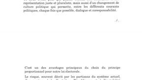 Plaidoyer de François Bayrou pour introduire la proportionnelle dans le scrutin législatif.
