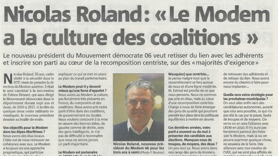 Interview Nice matin de Nicolas Roland, nouveau président départemental Modem