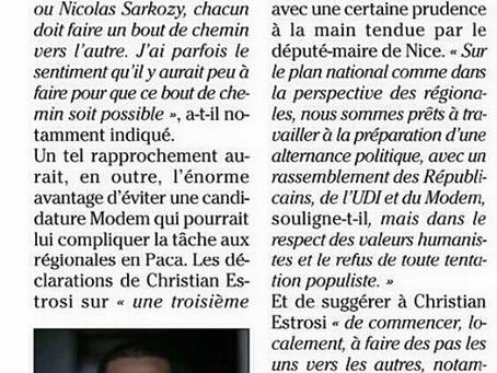 "Nice-Matin- 13 juin- ""Régionales, un oui mais!"""