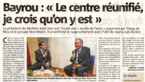 Article de Nice Matin suite à la venue de François Bayrou à Nice