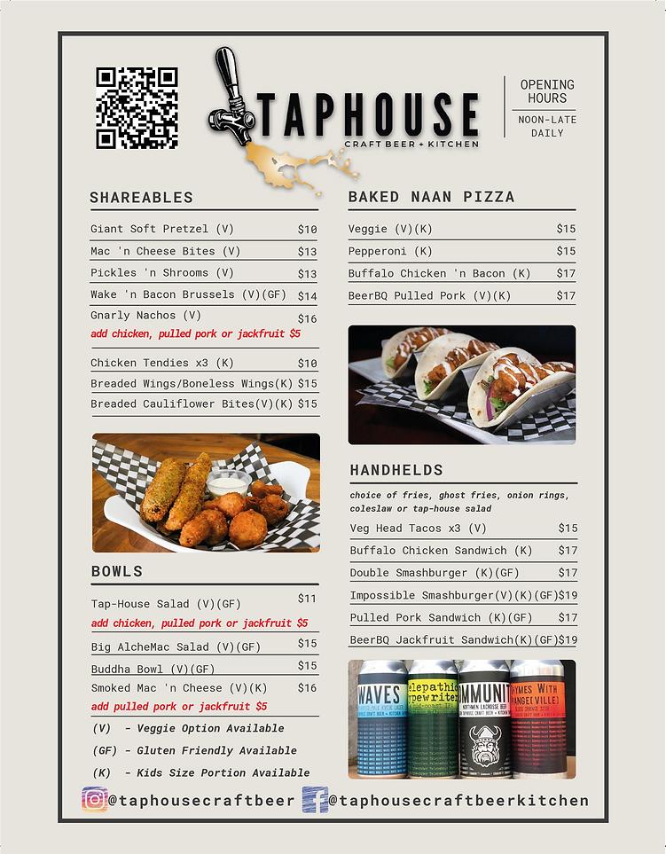 Taphouse Craft Beer - Food Menu June 202