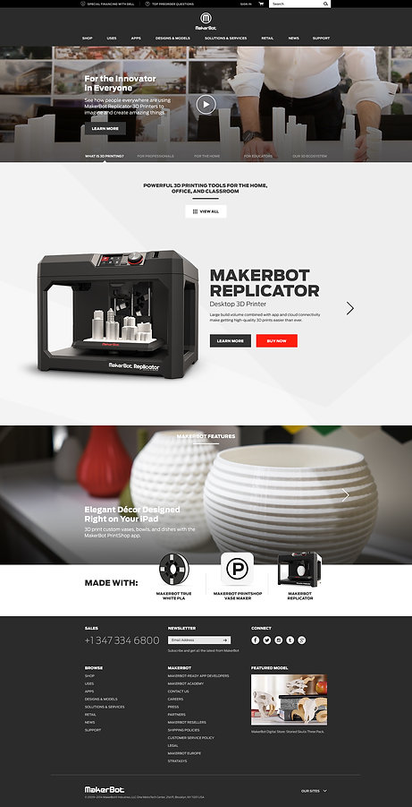MakerBot Homepage Redesign