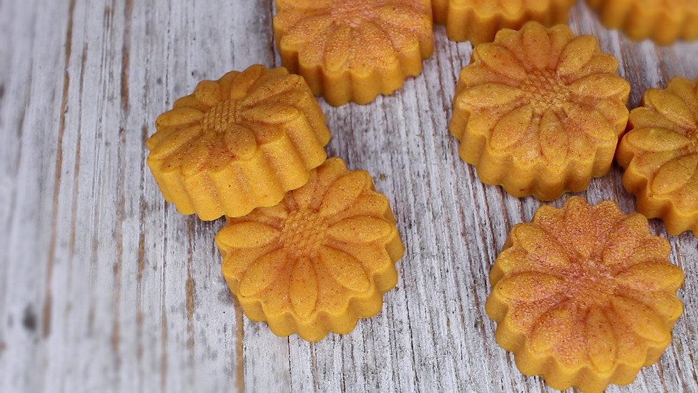 I added more turmeric in these cute mini soap bars to target specific areas that may need more attention.