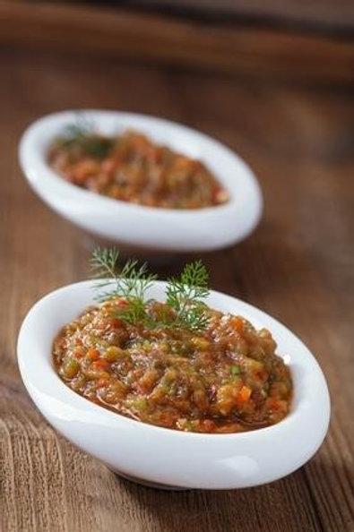 Caviar  d'aubergine et son coulis de tomate