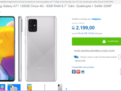 """MAGAZINELUCROLINE EM PROMOÇÃO - Smartphone Samsung Galaxy A71 128GB Cinza 4G - 6GB RAM 6,7"""""""