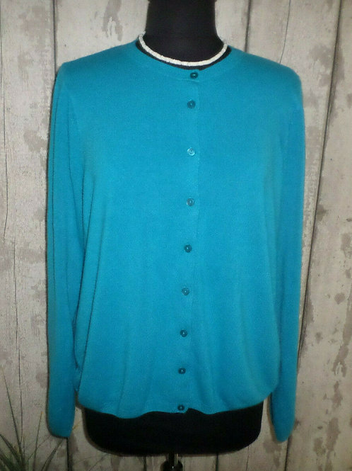 M&S Classic Turquoise Supersoft Knit Crew Neck Long Sleeve Cardigan Size 20