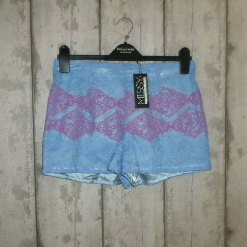 BNWT Missy Empire Blue Pink Lace Lined Shorts Size 12
