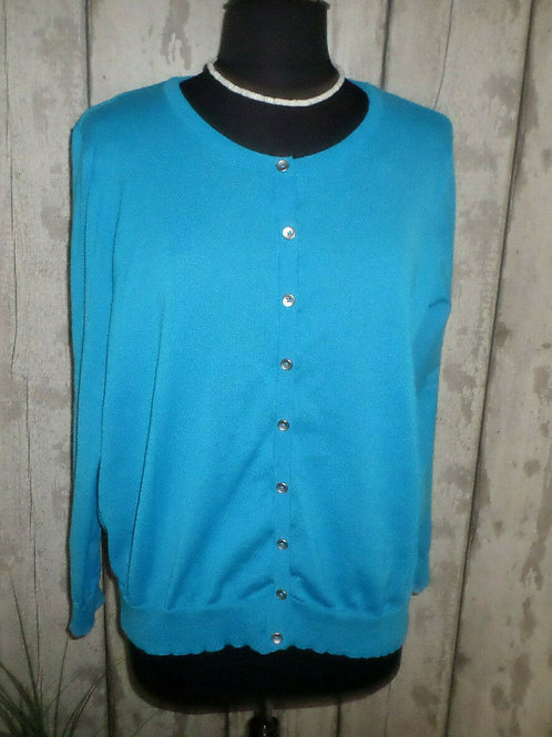 George Turquoise Soft Knit Silver Buttoned Long Sleeve Crew Neck Cardigan 18/20