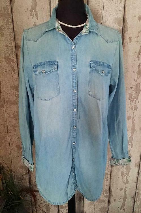 Stonewash Cotton Denim Contrast Trim Longline Maternity Shirt Top Size 12