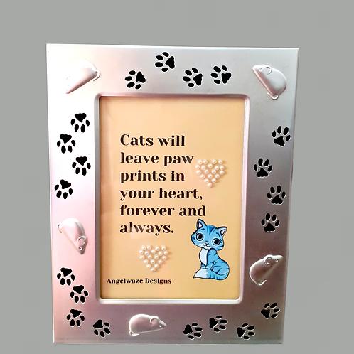 Handmade Original And Unique Framed Artwork Cat Quotation