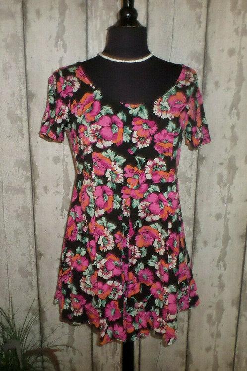 NEW River Island Black Pink Floral Back Zip Viscose Playsuit Size 10