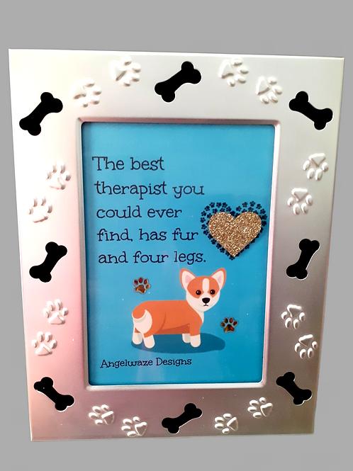 Handmade Original And Unique Framed Artwork Dog Quotation