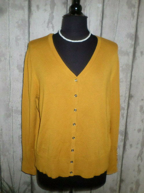 Mustard Yellow Soft Knit Buttoned Trim Sleeve V Neck Cardigan Size 20