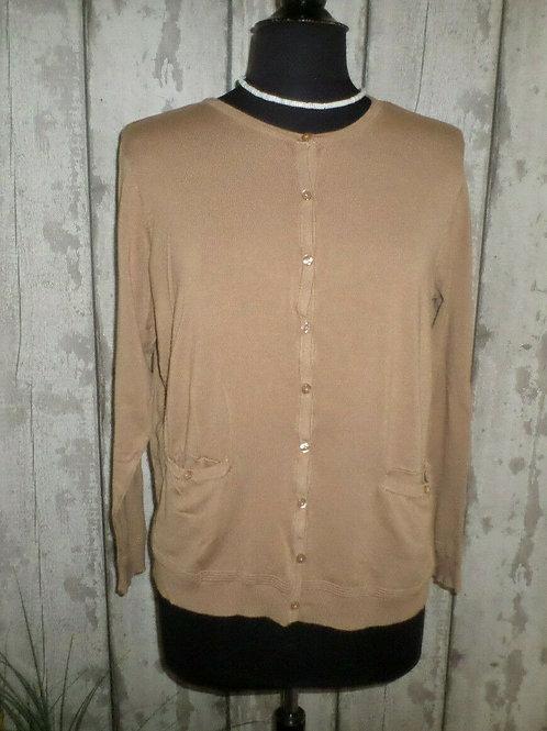 Dark Beige Soft Knit Long Sleeve Crew Neck Buttoned Cardigan Size 18/20