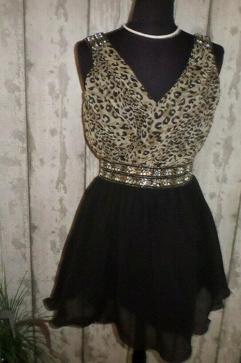 BNWT Goddess London Black Leopard Print Sequinned Ruched Lined Skater Dress 10