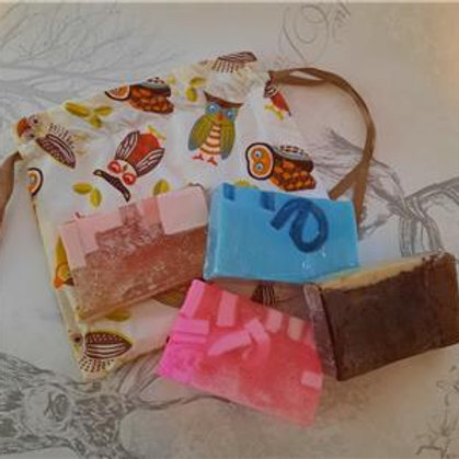 Handcrafted All Natural Set Of 4 Glycerin Soaps With Lined Handmade Cotton Bag