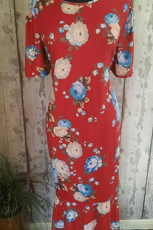 BNWT Red Blue Rose Print Soft Stretch Easy Fit Occasion Maxi Dress Size 20/22