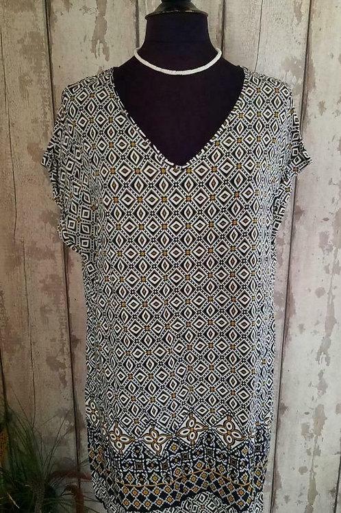 NEW Ivory Black Gold A Line Short Sleeve Viscose Tunic Dress Size 16