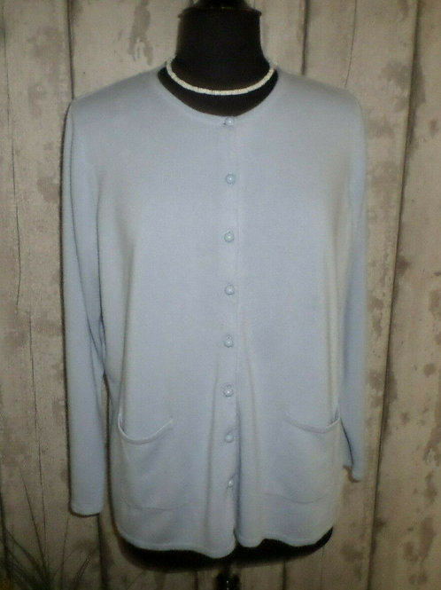 Grey Super Soft Pearl Buttoned Long Sleeve Cardigan With Pockets Size 20