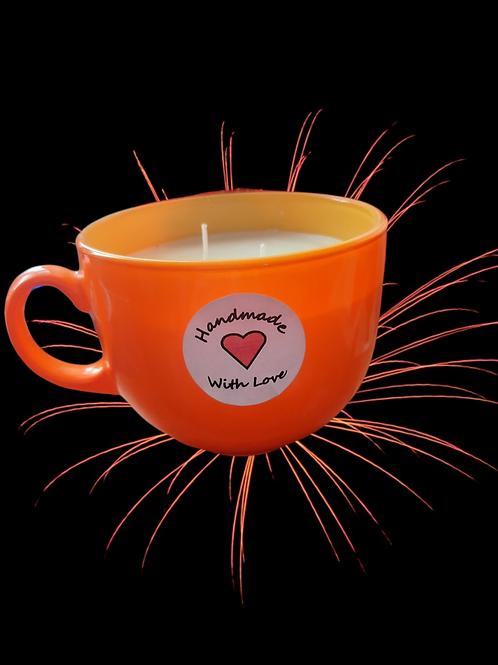 Handcrafted Large 640g Soy Wax Mango & Papaya Orange Glass Tea Cup Candle