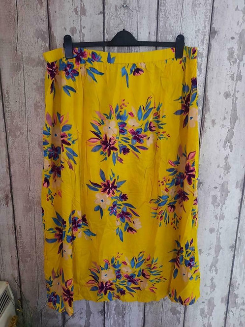 BNWT Simply Be Yellow Pink Tropical Floral Maxi Skirt With Attached Shorts Sz 26