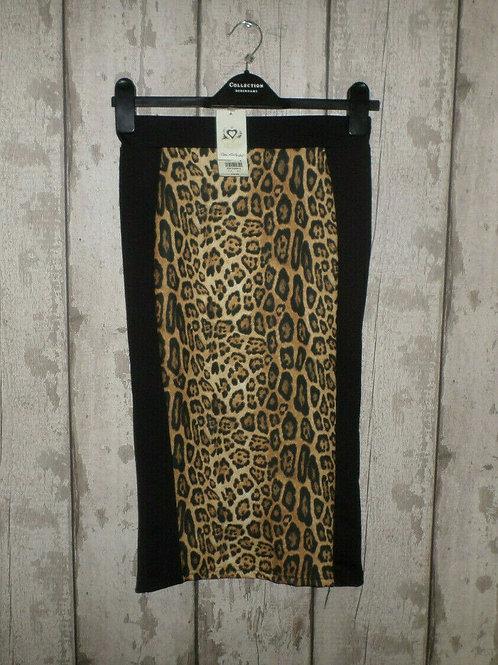 BNWT Miss Selfridge Black & Leopard Print Stretch Pencil Skirt Size 8