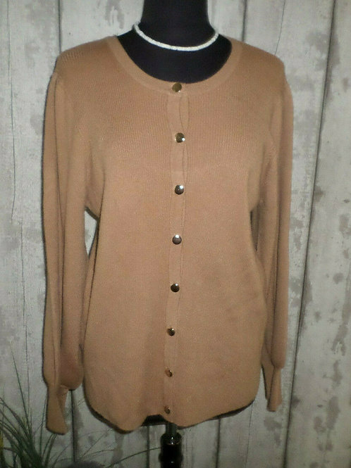 Taupe Soft Knit Gold Buttoned Long Sleeve Round Neck Cardigan Size 18/20