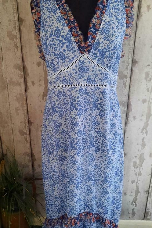 NEW TOPSHOP Blue Ivory Floral Fully Lined Laced Tasseled Back Feature Dress 14