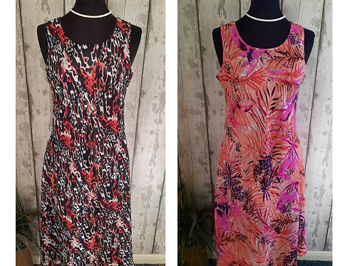 Stunning Two In One Reversible Crinkle Chiffon Dress Size 14