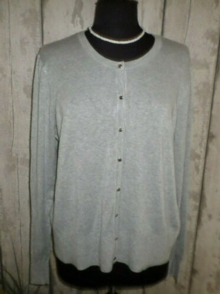 NEW Grey Soft Knit Buttoned Long Sleeve Crew Neck Cardigan Size 20