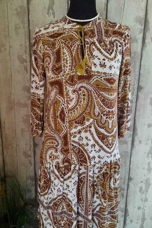 NEW NEXT Soft Stretch Jersey Paisley Tie Neck Boho Prarie Style Dress Size 14