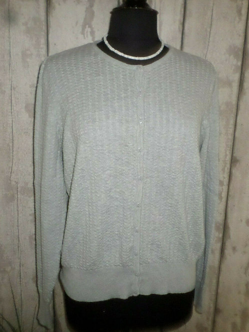 Soft Grey Textured Knit Long Sleeved Buttoned Crew Neck Cardigan Size 20