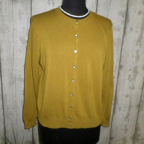 Light Khaki Soft Knit Yarn Silver Buttoned Long Sleeve Cardigan Size 18/20