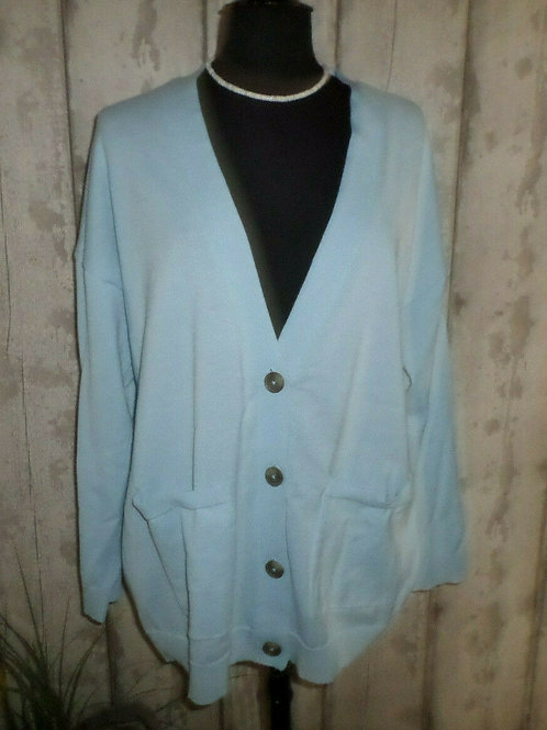 NEW George Powder Blue Soft Knit Large Buttoned Long Sleeve Cardigan Size 18/20