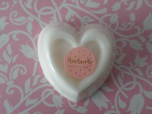 Handmade All Natural White Lily & Ginseng Heart Large Soap