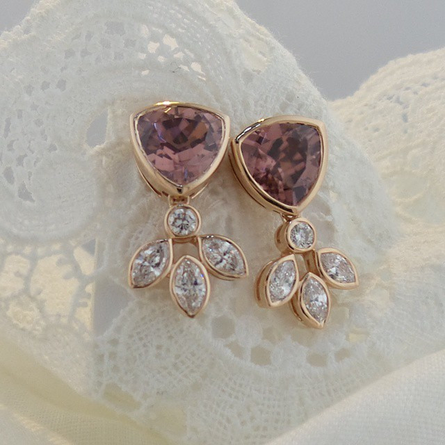 Instagram - Loving these new rose #zircon and #diamonds in rose #18Kgold #earrin