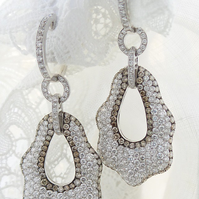 Instagram - Hate it when photo doesn't fit! Drop #earrings with white #diamonds