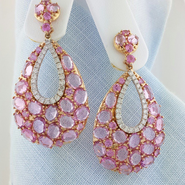 Instagram - Big dangling #earrings rocked the #goldenglobes. Rose cut #pinksapph