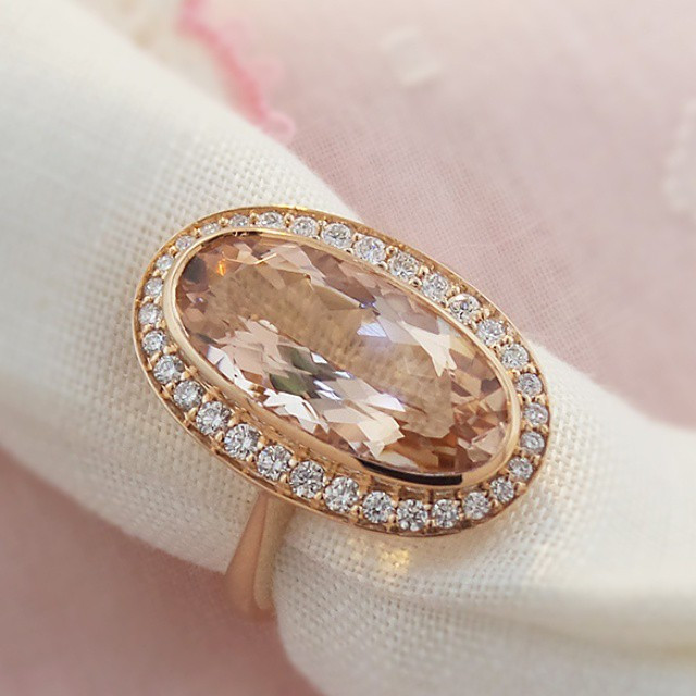 #Morganite is hot so here is another one of our new #styles.  A 4 carat long oval with #diamonds in rose #18Kgold.jpg