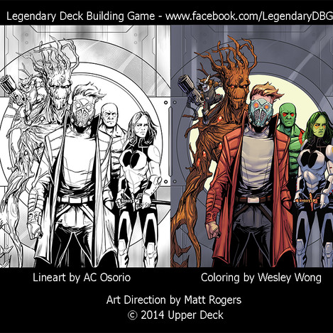 Colors done for the Marvel Legendary Guardians of the Galaxy card game from Upper Deck. Line art by AC Osorio.