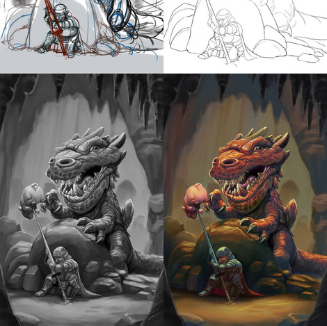 This started out as a personal piece but ended up being accepted for the Not So Tiny Dragons art book from ArtOrder LLC (2018). Here you can see how the piece progressed from the rough sketch to the final work.