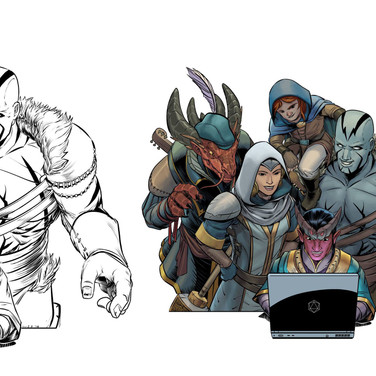 Image created for promotional materials for onCCCon, an online gaming convention. Here you can see the inked version and the finished color version.