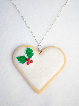 Frosted Holly Heart Cookie Necklace