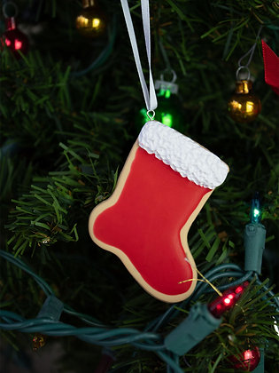 Santa Stocking Cookie Ornament