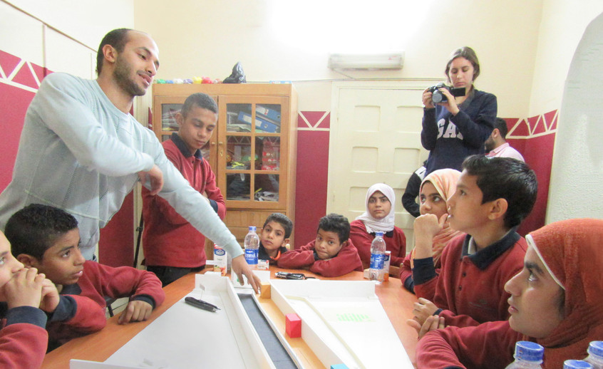 Participatory design workshop with the students from Tawasol NGO, on the main users of the tunnel