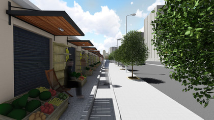 3D renders of the proposed design of the market