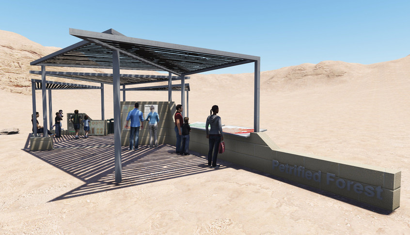 Design render of the main interpretation station from the entrance view