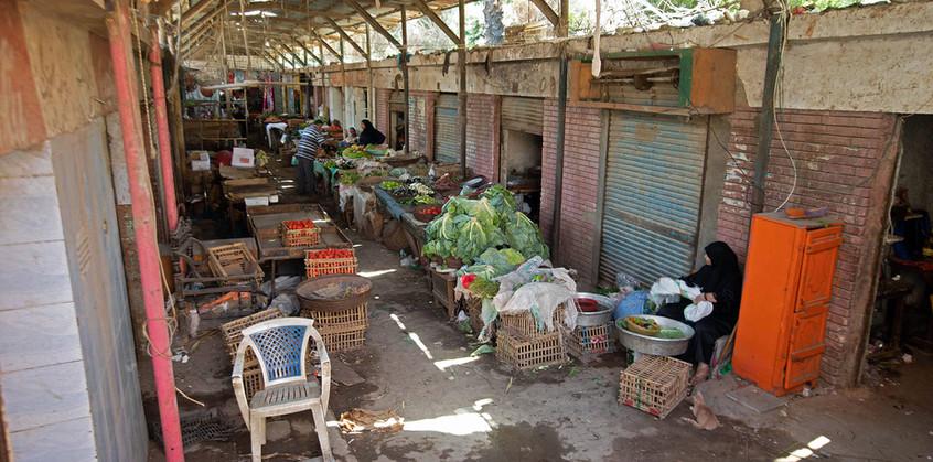 An interior view of Zenein Market before intervention