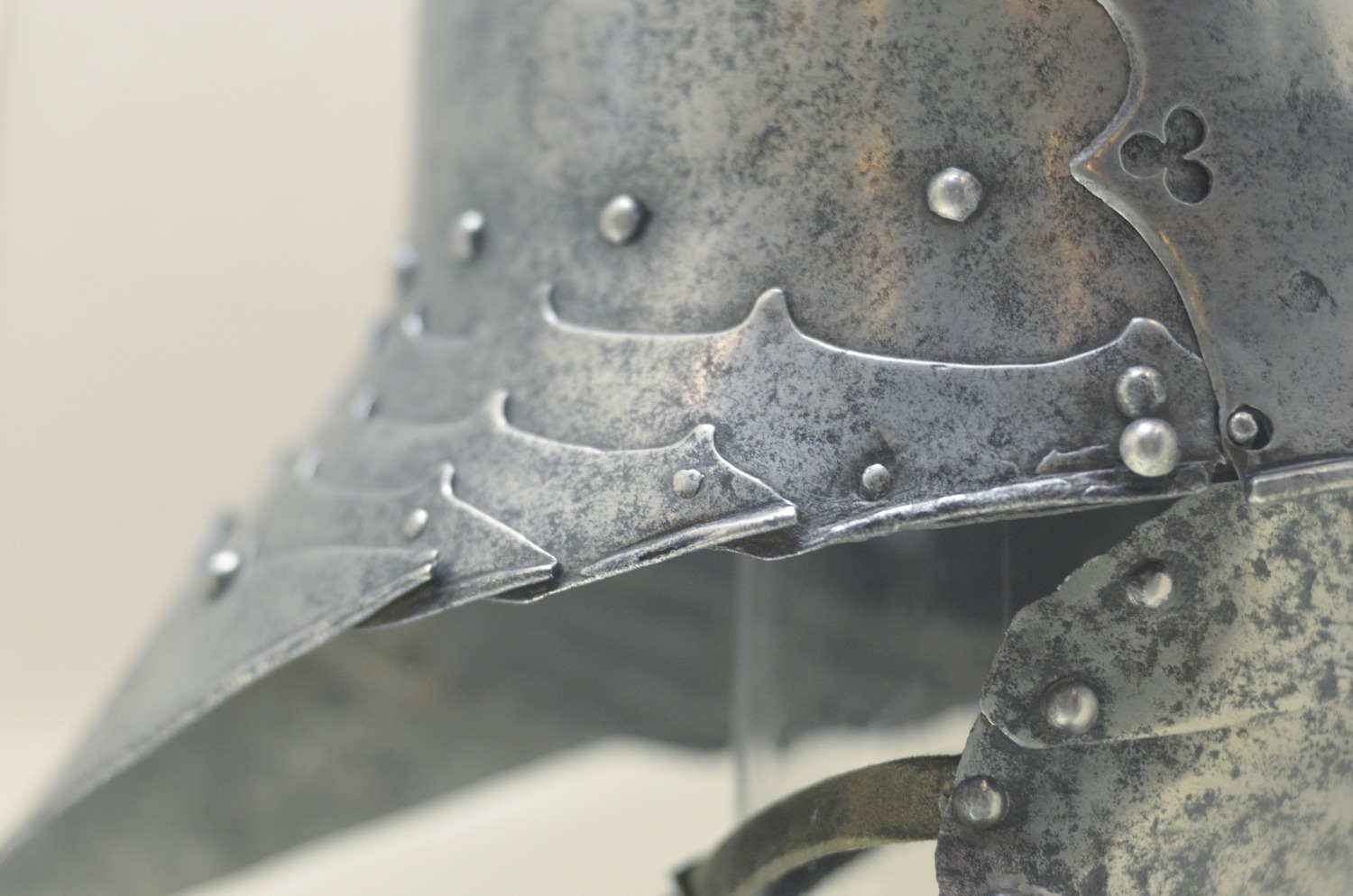 Detail of helmet from Higgins Armory
