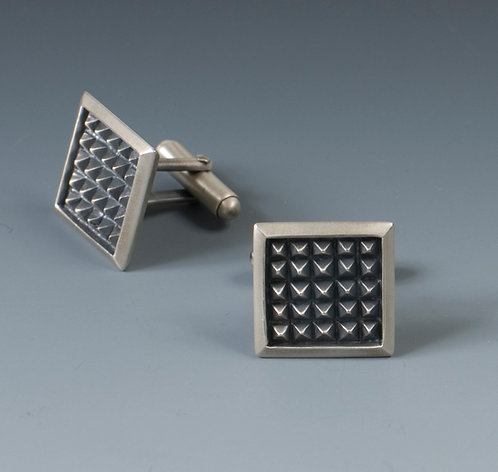 C3 Square Rusticated Cufflinks